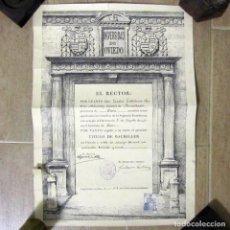 Documentos antiguos: TÍTULO DE BACHILLER UNIVERSIDAD DE OVIEDO 1935. Lote 191836922
