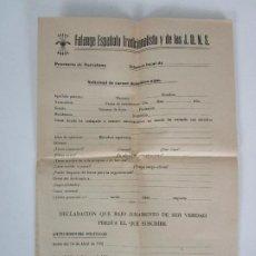 Documentos antiguos: HOJA DE AFILIACIÓN FALANGE ESPAÑOLA J.O.N.S. - DECLARACIÓN BAJO JURAMENTO - PROVINCIA DE BARCELONA. Lote 192210407
