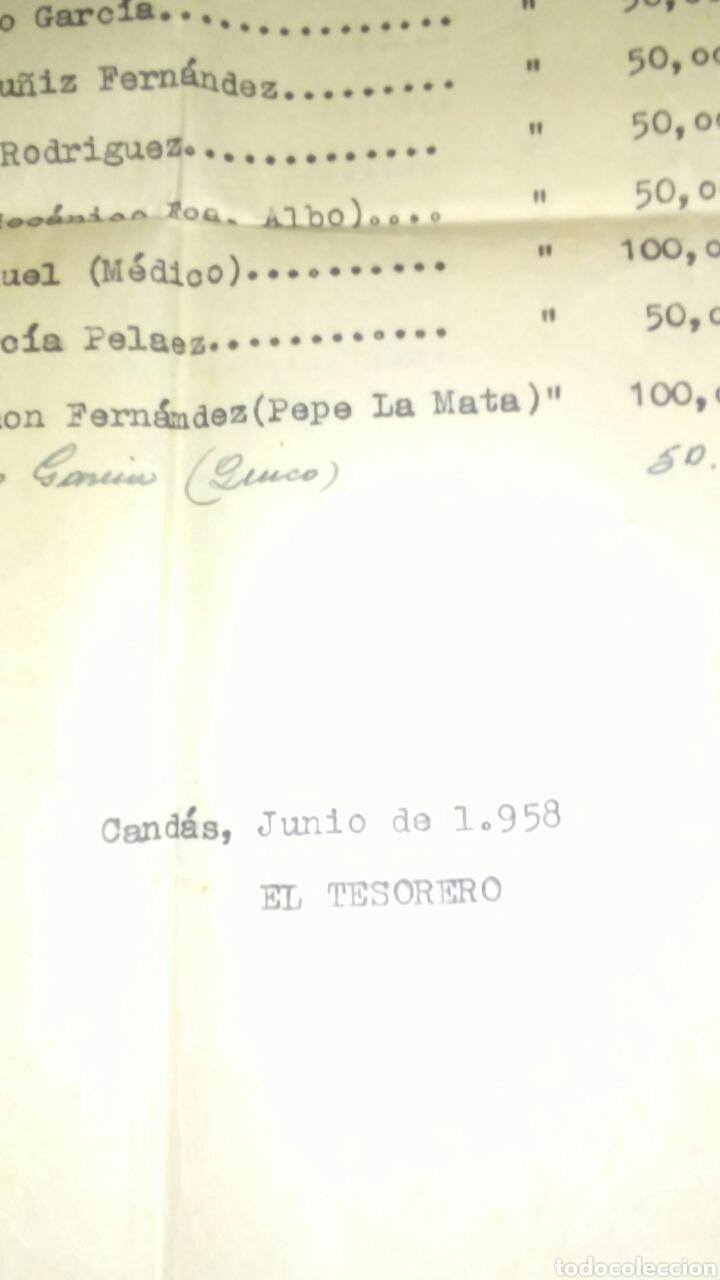Documentos antiguos: Antiguas hojas de relacion de cuentas peña furada de Candas año 1959(leer la descripcion completa) - Foto 4 - 192450790
