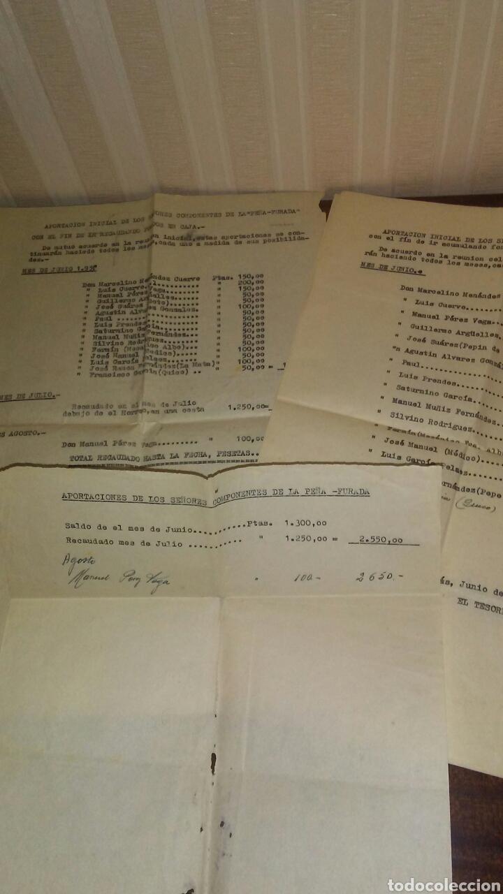 ANTIGUAS HOJAS DE RELACION DE CUENTAS PEÑA FURADA DE CANDAS AÑO 1959(LEER LA DESCRIPCION COMPLETA) (Coleccionismo - Documentos - Otros documentos)
