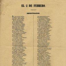 Documentos antiguos: LIBELO, JULIAN ROMEA, ISABEL II, EL 2 DE FEBRERO IMPROVISACION. Lote 192566385