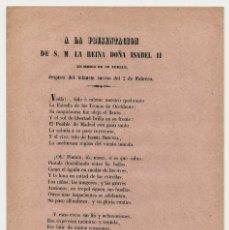 Documentos antiguos: LIBELO, JUAN DE LA ROSA, ISABEL II, A LA PRESENTACION DE S.M. LA REINA. Lote 192572938