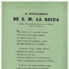 Documentos antiguos: LIBELO, CAYETANO DE SURICALDAY, ISABEL II, AL RESTABLECIMINETO DE S.M. LA REINA. Lote 192573348