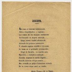 Documentos antiguos: LIBELO, BENITO VICENS Y GIL DE TEJADA, ISABEL II, SONETO. Lote 192575153