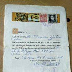 Documentos antiguos: CERTIFICADO APTITUD FALANGE VIZCAYA SECCIÓN FEMENINA 1966 SELLOS. Lote 192864165