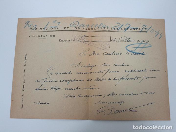 Documentos antiguos: Red Nacional de los Ferrocarriles Españoles - Zaragoza-433 - Carta, Firma Jefe de Estación -Año 1944 - Foto 3 - 192907150