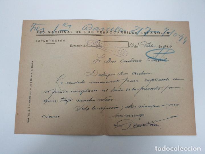 RED NACIONAL DE LOS FERROCARRILES ESPAÑOLES - ZARAGOZA-433 - CARTA, FIRMA JEFE DE ESTACIÓN -AÑO 1944 (Coleccionismo - Documentos - Otros documentos)