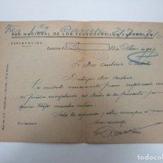 Documentos antiguos: RED NACIONAL DE LOS FERROCARRILES ESPAÑOLES - ZARAGOZA-433 - CARTA, FIRMA JEFE DE ESTACIÓN -AÑO 1944. Lote 192907150