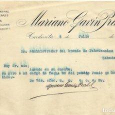 Documentos antigos: MARIANO GAVIN PRADEL. TARDIENTA. LANAS. GREMIO DE FABRICANTES DE SABADELL. 1921. . Lote 192909960
