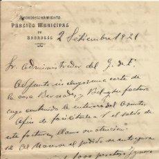 Documentos antiguos: ACONDICIONAMIENTO PÚBLICO DE SABADELL. 1921. GREMIO DE FABRICANTES. DOS HOJAS ESCRITAS.. Lote 192910666