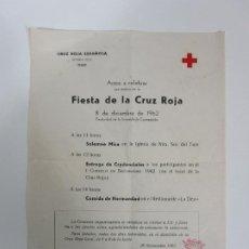 Documentos antiguos: FIESTA DE LA CRUZ ROJA, OLOT - MISA NTRA. SRA DEL TURA - COMIDA RESTAURANTE LA DEU - AÑO 1962. Lote 192911701