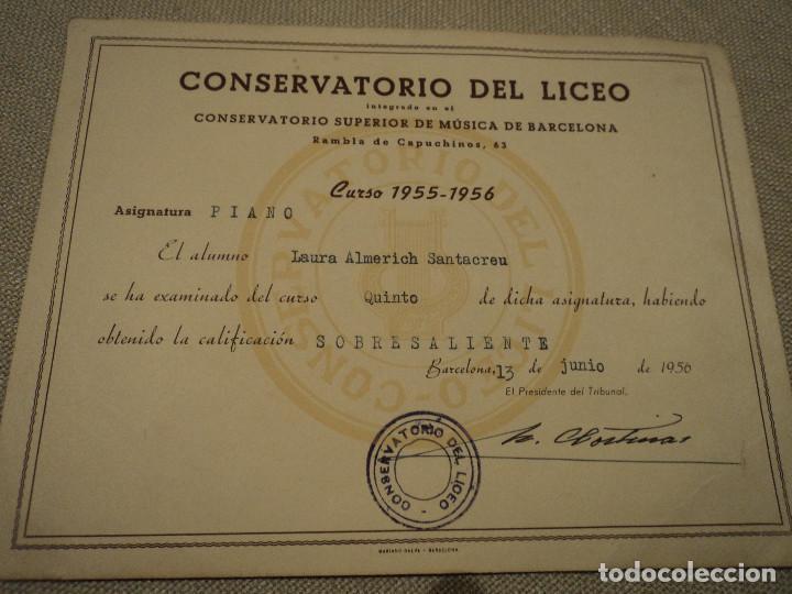 LAURA ALMERICH-LLUIS LLACH- DIPLOMA DEL CONSERVATORIO DEL LICEO DE BARCELONA 1956 21 X 16 CM (Coleccionismo - Documentos - Otros documentos)