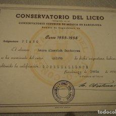 Documentos antiguos: LAURA ALMERICH-LLUIS LLACH- DIPLOMA DEL CONSERVATORIO DEL LICEO DE BARCELONA 1956 21 X 16 CM. Lote 192924113