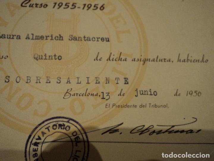 Documentos antiguos: LAURA ALMERICH-LLUIS LLACH- DIPLOMA DEL CONSERVATORIO DEL LICEO DE BARCELONA 1956 21 X 16 CM - Foto 2 - 192924113