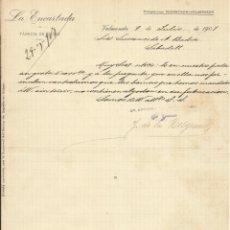 Documentos antiguos: LA ENCARTADA. FÁBRICA DE BOINAS. VALMASEDA. 1907. CARTA A A. BADÍA. SABADELL.. Lote 192968923