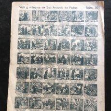 Documentos antiguos: AUCA / ALELUYA - VIDA Y MILAGROS DE SAN ANTONIO DE PADUA . Nº 30 - 43,5X31,5CM. Lote 193007561