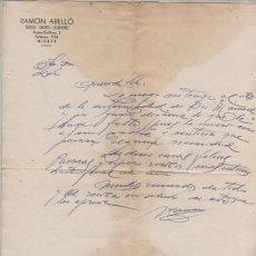 Documentos antigos: CARTA COMERCIAL DE RAMÓN ABELLÓ - TEJIDOS DE MIERES . Lote 193031961