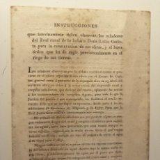 Documentos antigos: INSTRUCCIONES QUE DEBEN OBSERVAR LOS ZELADORES DEL REAL CANAL DE LA INFANTA DOÑA LUISA CARLOTA. 1819. Lote 193054717
