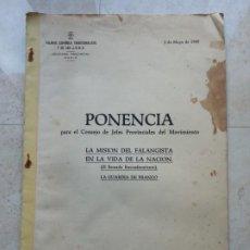 Documentos antiguos: CARLOS MARIA DE VALCARCEL.PONENCIA PARA EL CONSEJO DE JEFES PROVINCIALES DEL MOVIMIENTO.CÁDIZ 1949. Lote 193167678