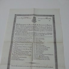 Documentos antiguos: DOCUMENTO RELIGIOSO. AÑO 1849.IMPRESO A UNA SOLA CARA. TAMAÑO. 32 X 22 CTMS. Lote 193174945