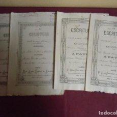 Documentos antigos: ESCRITURAS 1874(2)-1892-1893.NOTARIO PEÑAS DE SAN PEDRO(ALBACETE)LOTE DE CUATRO ESCRITURAS.. Lote 193233435
