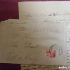 Documentos antigos: GUERRA CIVIL.CARTA ALICANTE/PEGO.1/2/1938.SOLDADO ESCRIBE A SU MADRE.. Lote 193234005