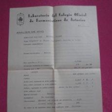 Documentos antiguos: ANALISIS DE VINOS DEL COLEGIO OFICIAL FARMACEUTICOS DE ASTURIAS COSECHA 1945. C43. Lote 193283781