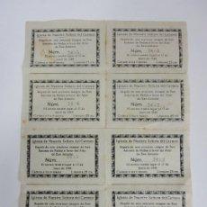 Documentos antiguos: IGLESIA DE NUESTRA SEÑORA DEL CARMEN - SORTEO, REGALO IMAGEN SAN ANTONIO A FAVOR DEL ALTAR -AÑO 1945. Lote 193552447