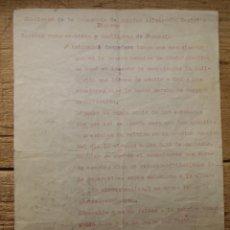 Documentos antigos: ALICANTE.SINDICATO INDUSTRIA DE SANIDAD,ASISTENCIA SOCIAL E HIGIENE 12/8/1937.. Lote 193626243