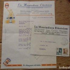 Documentos antigos: ELCHE.LA MONTADORA ELECTRICA .CARTA CIRCULADA A ALICANTE 18/11/1953.. Lote 193626602