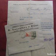 Documentos antigos: MURO DE ALCOY(ALICANTE)FABRICA DE HARINAS Y ELECTRICIDAD.CARTA CIRCULADA A PEGO 1946.. Lote 193629685