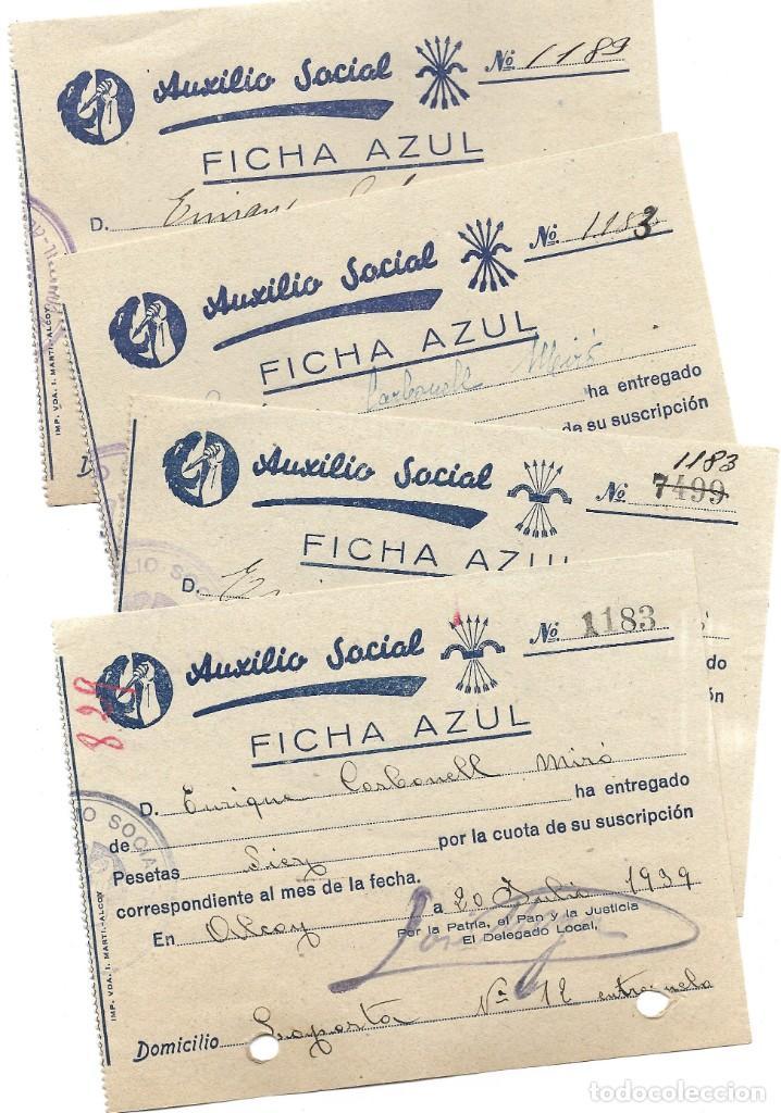 ALCOY (ALICANTE) LOTE 4 RECIBOS AUXILIO SOCIAL FICHA AZUL POSGUERRA AÑO 1939 (Coleccionismo - Documentos - Otros documentos)