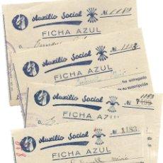 Documentos antiguos: ALCOY (ALICANTE) LOTE 4 RECIBOS AUXILIO SOCIAL FICHA AZUL POSGUERRA AÑO 1939. Lote 193642897