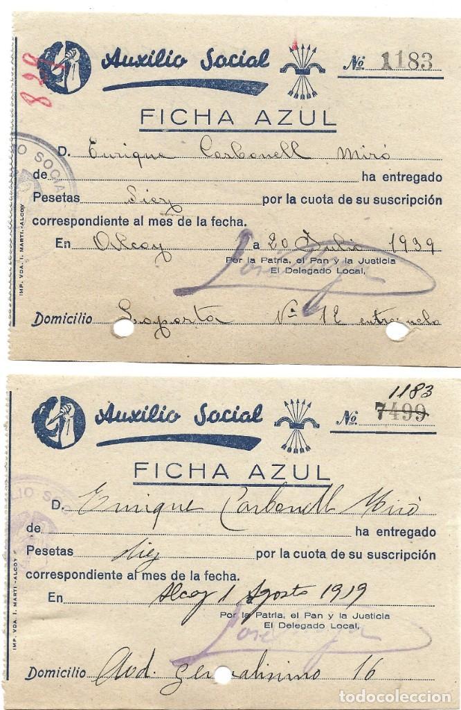 Documentos antiguos: ALCOY (ALICANTE) LOTE 4 RECIBOS AUXILIO SOCIAL FICHA AZUL POSGUERRA AÑO 1939 - Foto 2 - 193642897