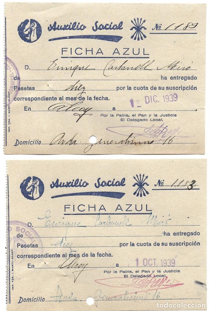 Documentos antiguos: ALCOY (ALICANTE) LOTE 4 RECIBOS AUXILIO SOCIAL FICHA AZUL POSGUERRA AÑO 1939 - Foto 3 - 193642897