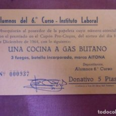 Documenti antichi: JUMILLA.SORTEO COCINA DE GAS BUTANO 1964.PUBLICIDAD CERVEZAS MAHOU.. Lote 193741078
