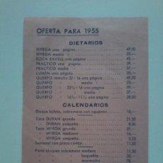Documentos antiguos: LISTA DE PRECIOS. EDITORIAL BAYER HNOS Y CIA. BARCELONA. OFERTA PARA 1955. DIETARIOS Y CALENDARIOS. Lote 193754612