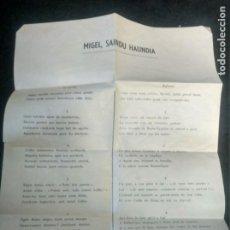Documentos antiguos: HOJA CON CANCIONES EN EUSKERA Y FRANCÉS DEL PADRE NARBAITZ. LURDEKO LOREA. AÑOS 50. Lote 193777141