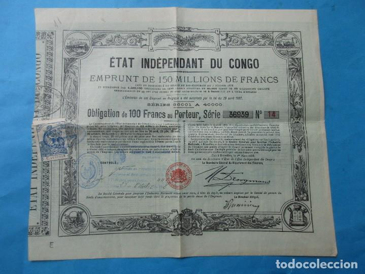 OBLIGACIÓN DEL ESTADO INDEPENDIENTE DEL CONGO. 1888. (Coleccionismo - Documentos - Otros documentos)