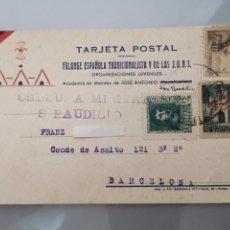 Documentos antiguos: ANTIGUA TARJETA POSTAL FALANGE ESPAÑOLA DE LAS J.O.N.S. 1939 SELLO CENSURA MILITAR. Lote 193810876