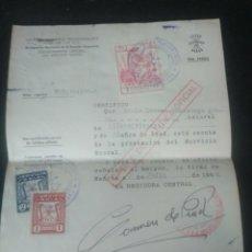 Documentos antiguos: FALANGE VIZCAYA SECCIÓN FEMENINA. 1957 EXENTA DE SERVICIO SOCIAL. SELLOS . Lote 193887707