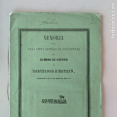Documentos antiguos: 1849 FERROCARRIL BARCELONA MATARO - MEMORIA JUNTA ACCIONISTAS DEL CAMINO DE HIERRO. Lote 193952575