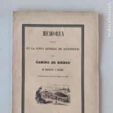 Documentos antiguos: 1848 MEMORIA FERROCARRIL BARCELONA A MATARO - CAMINO DE HIERRO - JUNTA DE ACCIONISTAS - MUY RARA. Lote 193953010