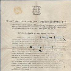 Documentos antiguos: RARO DOCUMENTO MÉDICO PEDO LICENCIA PARA PODER EXPELER Y DISPARAR VENTOSIDADES EN PÚBLICO. AÑO 1906. Lote 193982061