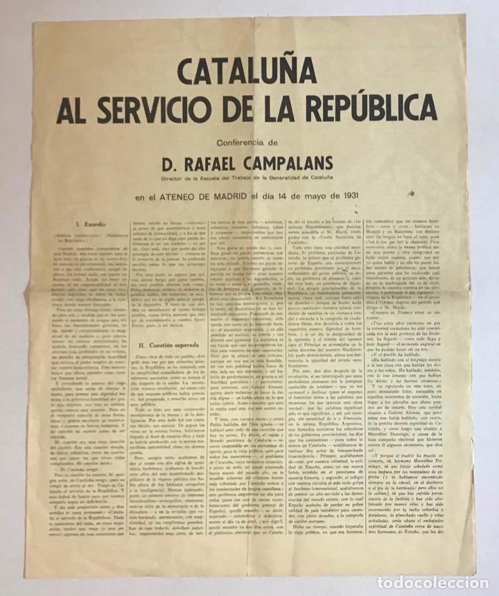 CATALUÑA AL SERVICIO DE LA REPÚBLICA. - CAMPALANS, RAFAEL. 1931. (Coleccionismo - Documentos - Otros documentos)