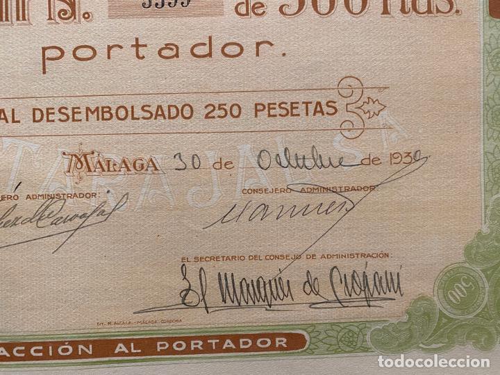 Documentos antiguos: AZUCARERA MALAGUEÑA EL TARAJAL , DOCUMENTO ACCION , MÁLAGA 1930 - Foto 2 - 194060346