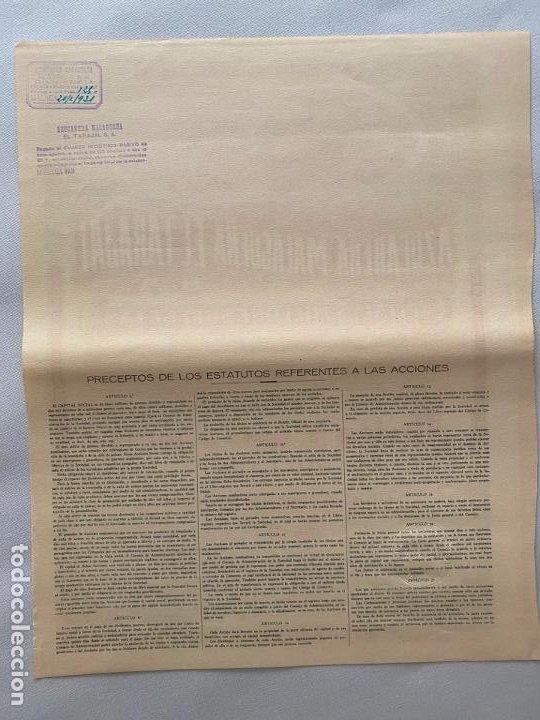 Documentos antiguos: AZUCARERA MALAGUEÑA EL TARAJAL , DOCUMENTO ACCION , MÁLAGA 1930 - Foto 3 - 194060346