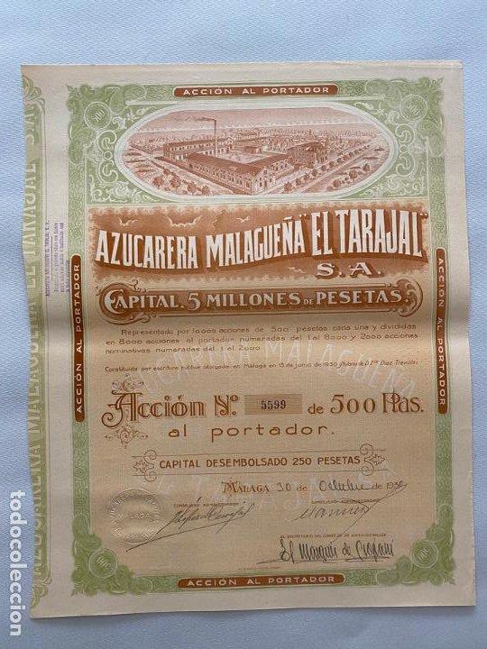 AZUCARERA MALAGUEÑA EL TARAJAL , DOCUMENTO ACCION , MÁLAGA 1930 (Coleccionismo - Documentos - Otros documentos)