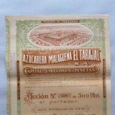 Documentos antiguos: AZUCARERA MALAGUEÑA EL TARAJAL , DOCUMENTO ACCION , MÁLAGA 1930 . Lote 194060346