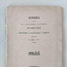 Documentos antiguos: 1862 MEMORIA FERROCARRIL BARCELONA A GRANOLLERS Y GERONA. Lote 194066197